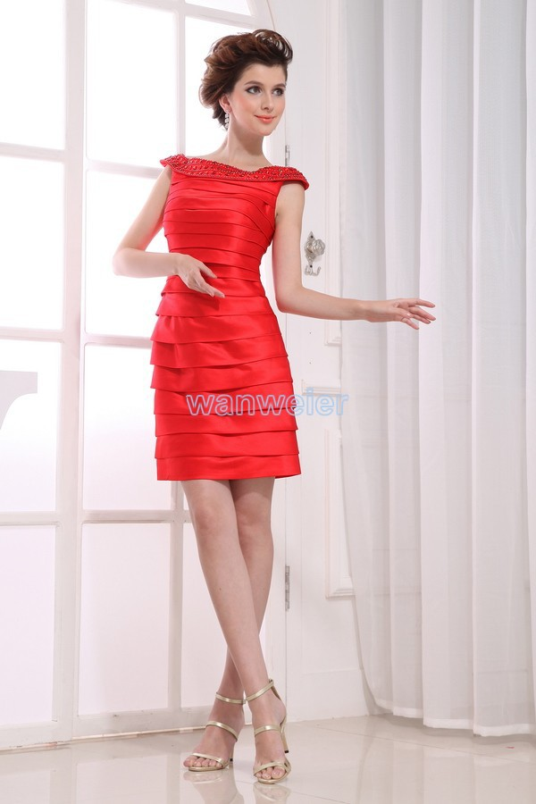 Free Shipping Vestidos Formales Party Dress Celebrity 2016 Bride Maid Dresses Short Sexy Eveing Crystal Red Bridesmaid Dresses