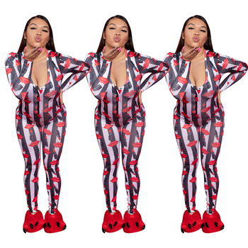 2020 Autumn And Winter New Sexy Lips Print Jumpsuit Women's Fashion Button Long-sleeved Trousers Casual Home All-match Jumpsuit 1