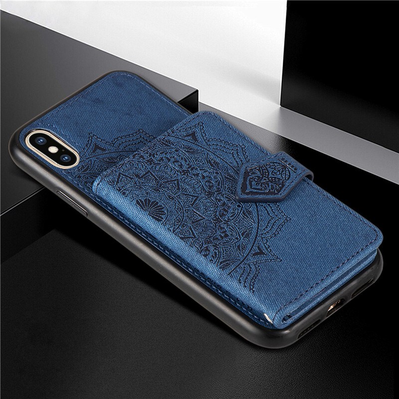 Luxury Fabric Cloth Canvas Wallet Case For Iphone 6 6s Plus 7 8 11 Pro Max X Xs Xr 7 Plus Magnetic Wallet Phone Case Coque Cover