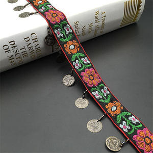 Image 5 - Ethnic Polyester Lace Trim With Copper Decoration Vintage Fabric Ribbon Sewing Crafts Accessory Embellishment 20/25 mm 0.9m 1 PC