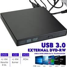 Movimentação externa magro do leitor do queimador da movimentação do escritor do cd de dvd rw de usb 3.0 unidades óticas para o computador portátil
