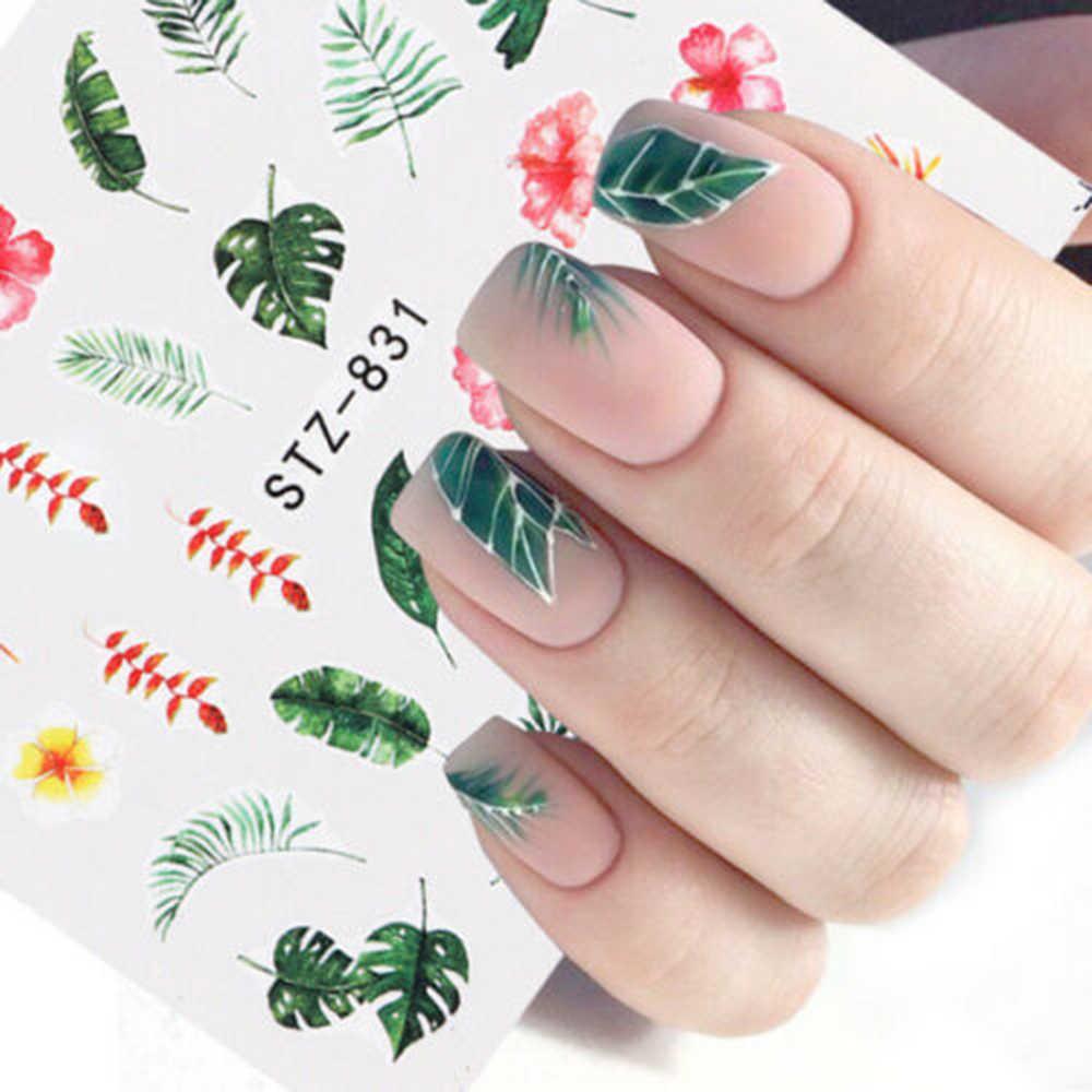 1Pcsเล็บรูปลอกสติกเกอร์ดอกไม้ต้นไม้สีเขียวฤดูร้อนที่เรียบง่ายDIY Sliderสำหรับเล็บArt Watermarkตกแต่งเล็บ