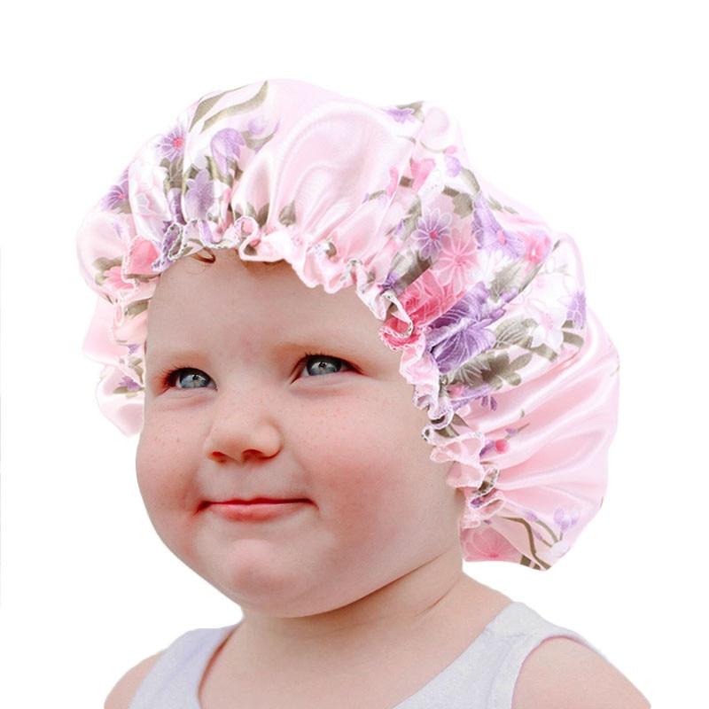 Baby Silky Satin Bonnet Sleep Cap Children Girl Night Turban Children Solid Headwear Cute Headwrap Hat Fashion Hair Wear
