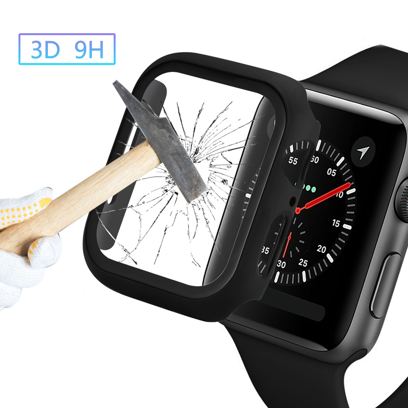 Tempered Film Screen Protector + <font><b>Watch</b></font> Cover for <font><b>Apple</b></font> <font><b>Watch</b></font> Series 4/<font><b>3</b></font>/2/1 for iWatch <font><b>38</b></font>/40/42/44mm Full Protection Bumper image