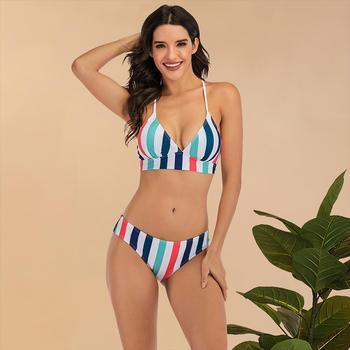 Women's Swimming Suit 2020 Sexy Bikini Swimsuit Swimwear Womens Rainbow Striped Print Bikini Set Bandage  Beach Bathing