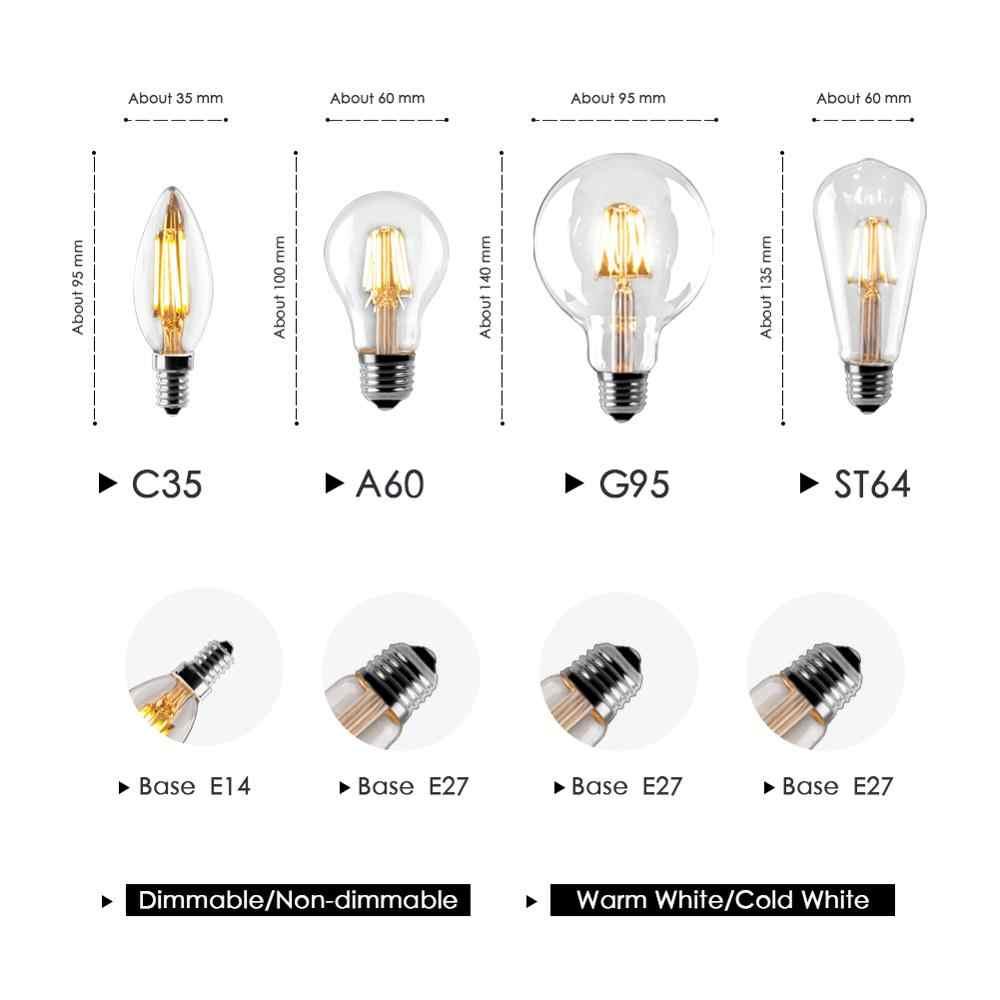 Lilin LED Bohlam E14 Vintage C35 Filamen Bohlam E27 LED Edison Globe Lamp 220V A60 Kaca 2W 4W 6W 8W Dimmable