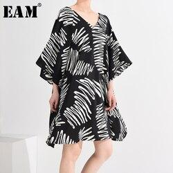 Женское платье с принтом EAM, платье большого размера с треугольным вырезом и рукавом три четверти, весенне-летняя мода 2020 1U48601