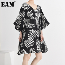 [EAM] Women Pattern Printed Oversized Dress New V-Neck Three-quarter Sleeve Loos