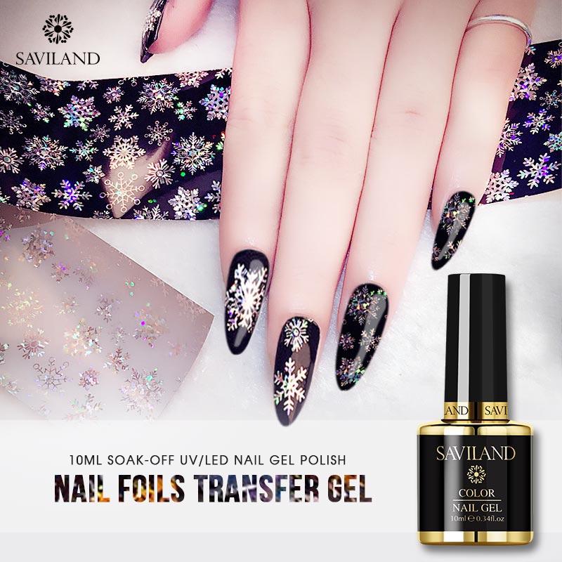 Saviland 10ml UV Nail Art Gel Varnish Starry Sky Clear Adhesive Star Glue For Nail Foils Transfer Nail Gel Polish