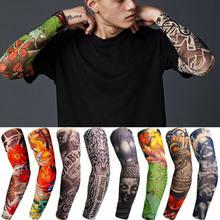 1 pçs men women falso tatuagem braço mangas capa legal mangas punhos esporte elástico braço mangas uv proteção solar