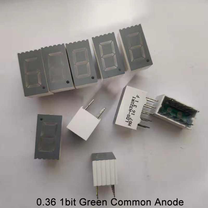 10pcs LED Display 0.36inch 1bit 7 Segment Display 1 Digit Common Cathode Anode Green LED Signs Light 7-Segment Tube LED Display
