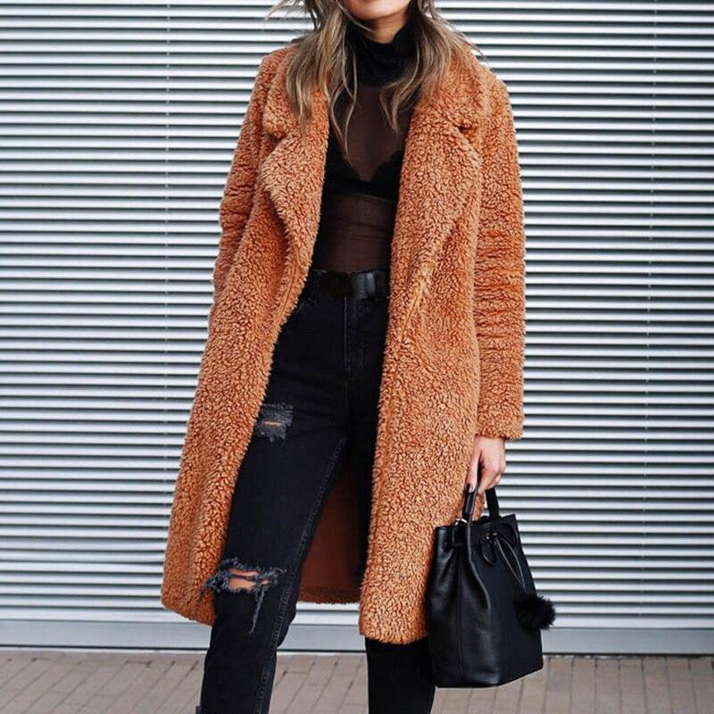 LOOZYKIT Women Faux Fur Long Outwear Coat Warm Plush Teddy Coat 2019 Autumn Winter Fashion Casual Streetwear Ladies Jackets