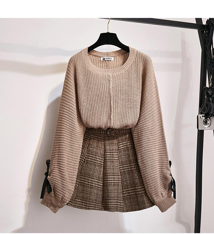 H2a5636a6669643c88fd6c91eaac9f06bv - ICHOIX women 2 piece set knitted tops and skirt set Korean style student casual two piece outfits fall winter set clothing