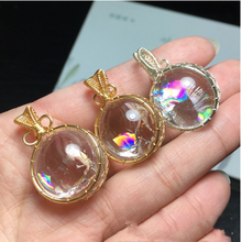 Claro Natural cuarzo Arco Iris colgante con cuentas de cristal de meditación Sanación Reiki Lemurian palo adornos hogar Decoración regalo