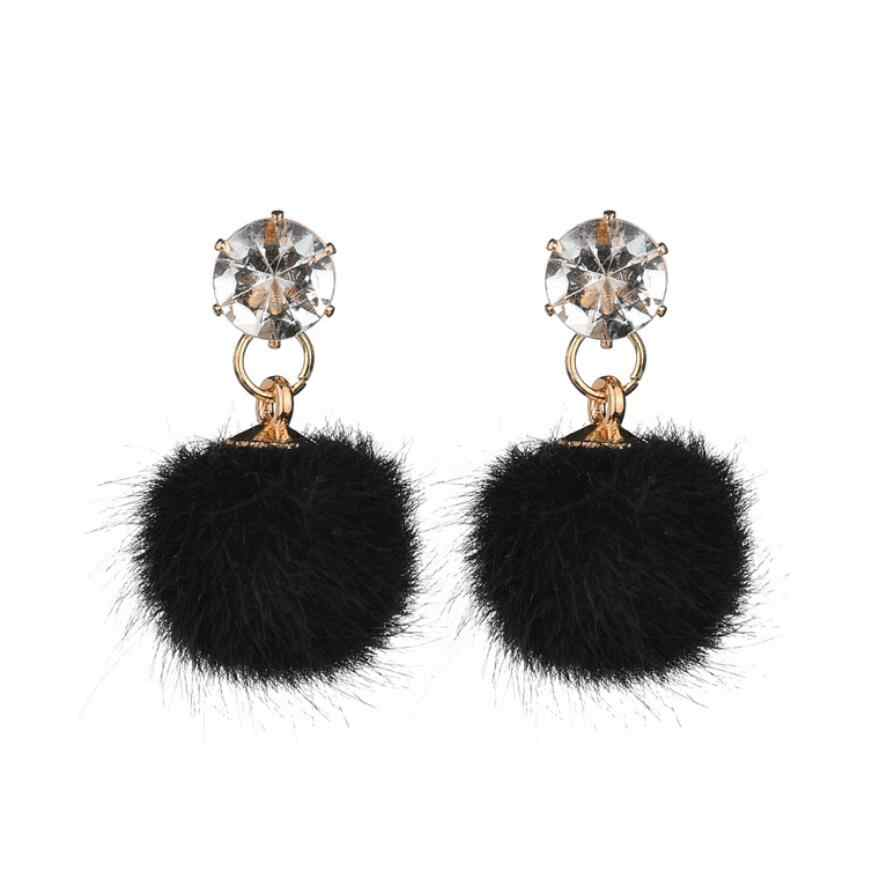Fashion 5 Color Hot Cute Fluffy Pom Pom Mink Fur Ball Stud Earrings for Women gift Rhinestone Earring Party Gift Fashion Brincos