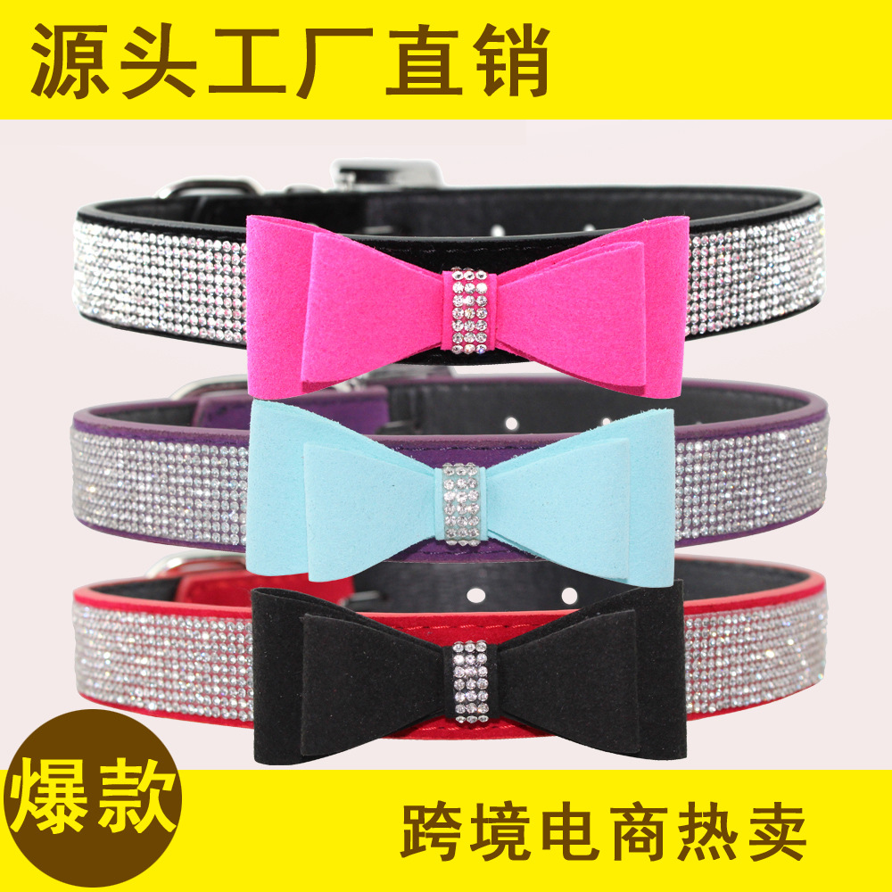 Flocked Hot Drilling Man-made Diamond Bow Pet Collar Dog Neck Ring Traction Dog Supplies