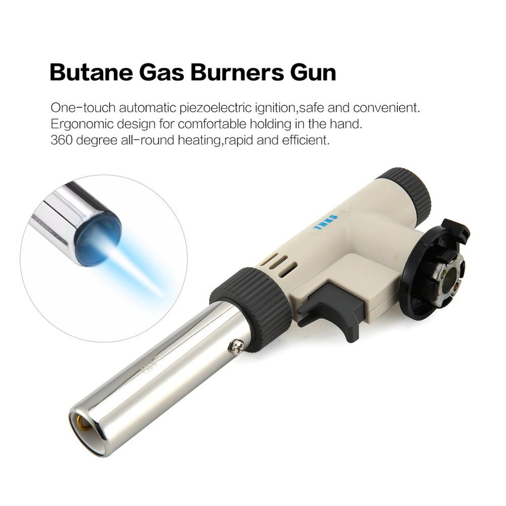 Camping Flame Gun Butane Gas Burners Gun Maker Torch Lighter Piezo Ignition Flamethrower Gas Torch For Outdoor BBQ Picnic