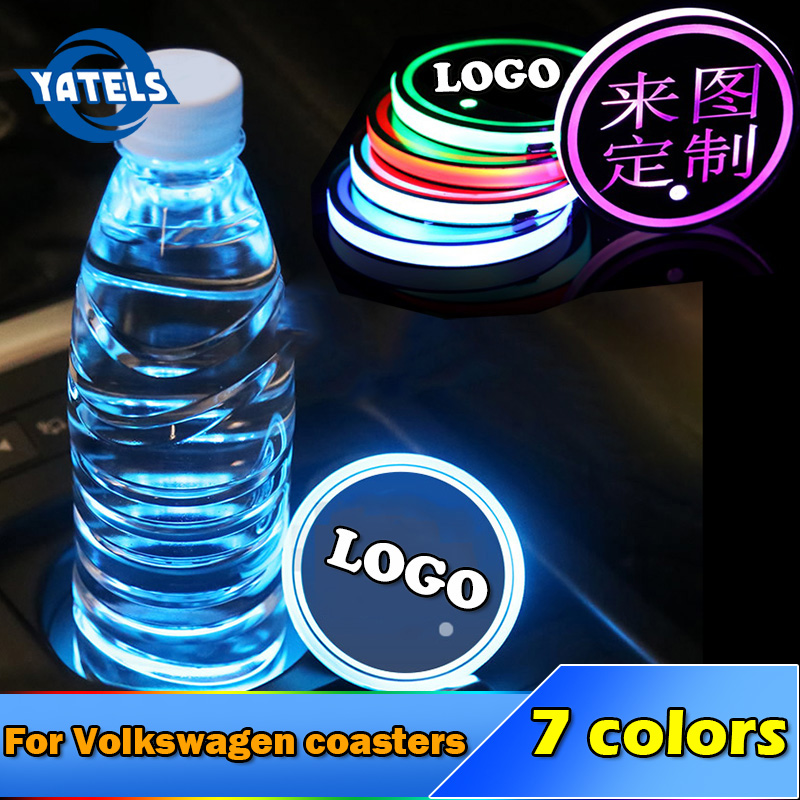 1X Car Styling Logo Light LED Cup Drink Holder Anti Slip For Volkswagen Polo Tiguan Golf 5 6 7 Mk4 Passat B6 B7 Car Accessories