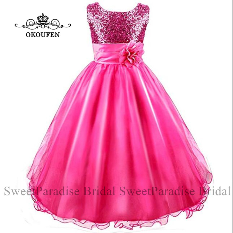 Sparkle Sequined   Flower     Girls     Dresses   With   Flowers   Puffy A Line Jewel Neck Birthday Communion   Dress   For Wedding