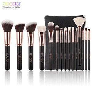 Image 1 - Docolor 15PCS Makeup Brushes Set Foundation Powder Eyeshadow Brush Goat Bristle Synthetic Hair Cosmetic Make up Brush With Bag
