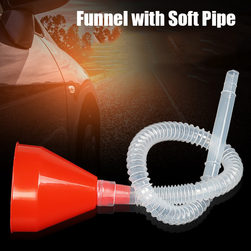 Car Motorcycle Truck Vehicle Plastic Filling Funnel with Soft Pipe Spout Pour Oil Tool Funnel with Soft Pipe