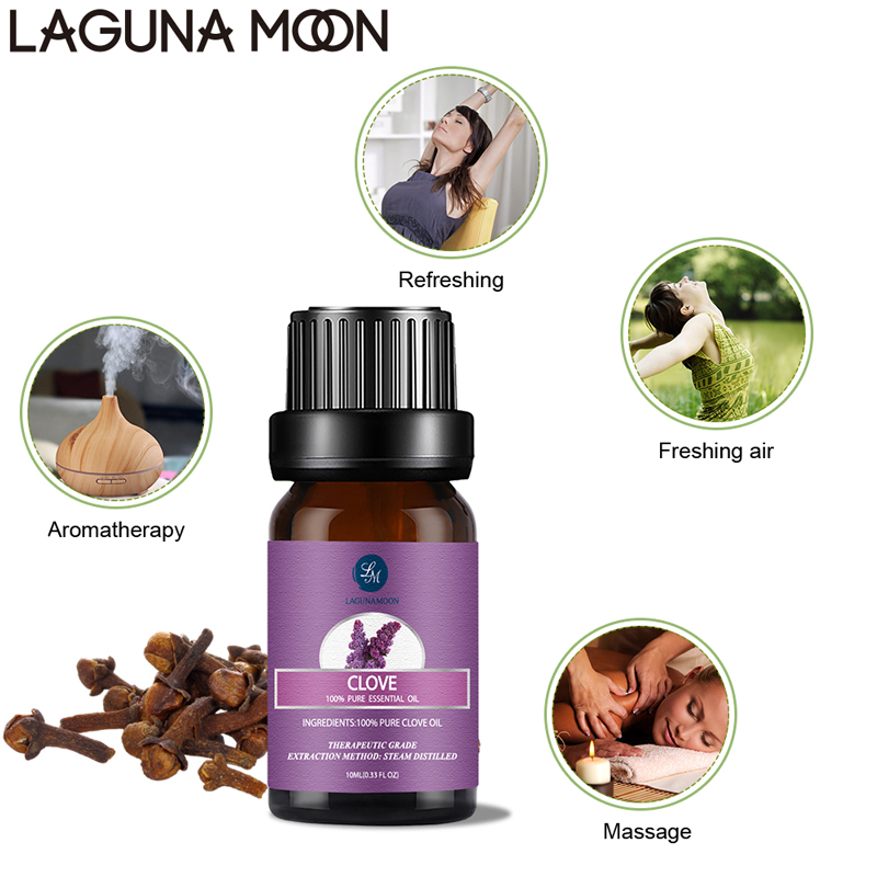 Lagunamoon Clove 10ML Pure Essential Oil Massage Diffuser Aroma Rose Mint Lemon Tea Tree Thyme Cajeput Orange Oil Purify Air