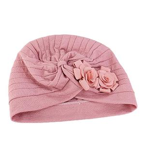 Image 2 - Women Muslim Islamic Elastic Turban Head Scarf Double Large Flower Beanie Hat Headwear Fashion Ruffle Turban Cap