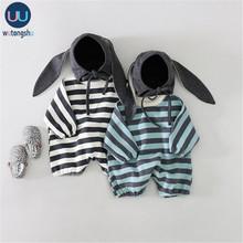 Jesienne śpioszki dla niemowląt z czapkami nowonarodzony chłopiec zagęścić czarne niebieskie paski nowy kombinezon dla niemowląt koreański niemowlę dziewczynki odzież wierzchnia na zimę tanie tanio Wutongshu COTTON CN (pochodzenie) Unisex W wieku 0-6m 7-12m 13-24m W paski baby O-neck Swetry Pajacyki Pełna baby girl rompers