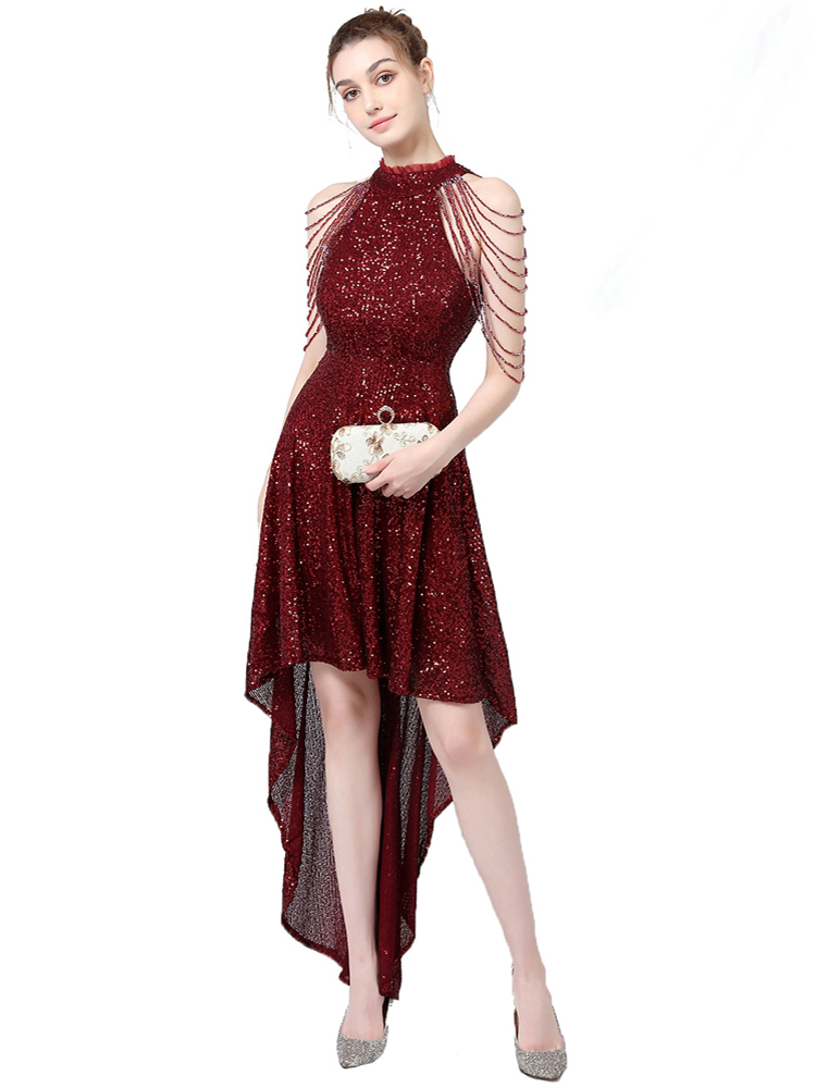 Closeout Deals…YIDINGZS Evening-Dress Party Off-Shoulder Short Back-Sequin Elegant Long New Fornt