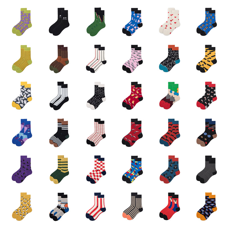 Women Socks Funny Cute Cartoon Striped Penguin Symbol Shark Eyes Nose Square Planet Happy Japanese Harajuku Skateboard Socks