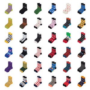 Women Socks Funny Cute Cartoon Striped Penguin Symbol Shark Eyes Nose Square Planet Happy Japanese Harajuku skateboard Socks(China)