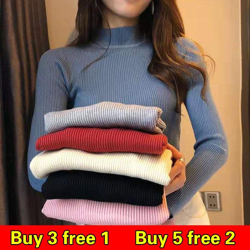 Femmes chandails 2019 Hiver hauts Pull à col roulé femmes mince Pull Pull tricoté Pull Femme Hiver Truien Dames nouveau