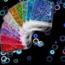1 saco oco redondo lantejoulas laser cor misturada lantejoulas 4mm saco acessórios da arte do prego brilhante decoração da arte do prego lantejoulas diy