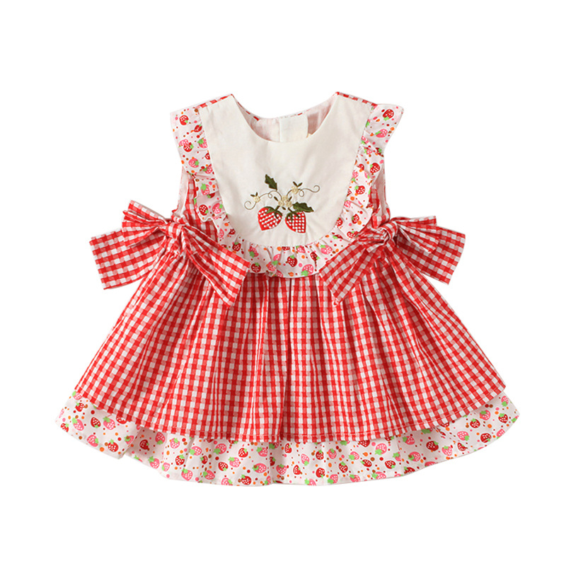 Summer Toddler Girl Dresses Vintage Lolita Cotton Dress Strawberry Embroidery Plaid Princess Costume Party Clothing for Baby
