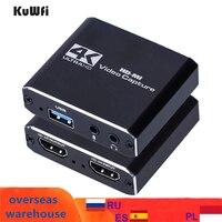 Kuwfi-placa de captura de vídeo para transmissão ao vivo, 1080p, 4k, usb, hdmi, interruptor de placa de captura de vídeo, jogo para ps4, xbox, caixa de gravação