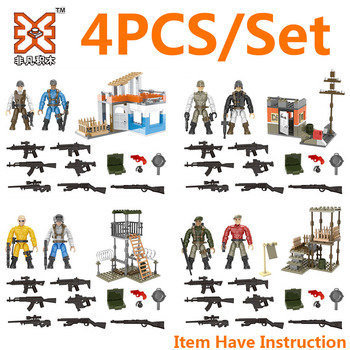 4x/Set WW2 Army Military Soldier City Police SWAT Mini Weapon Accessories Figures Building Blocks Bricks Model Toys 21pcs machine gun moc weapon pack military accessories blocks city police ww2 soldiers figures bricks parts compatible legoed