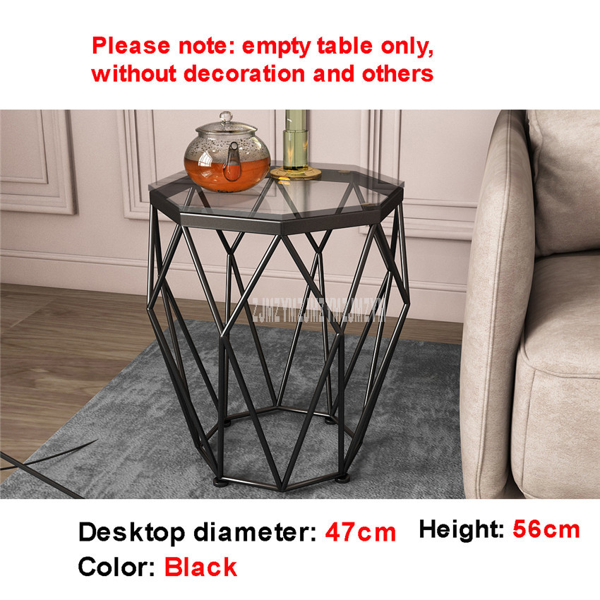 47cm nordique géométrie fer Art Table à thé créatif petit verre trempé bureau fer jambe salon Table mode meubles de maison - 5