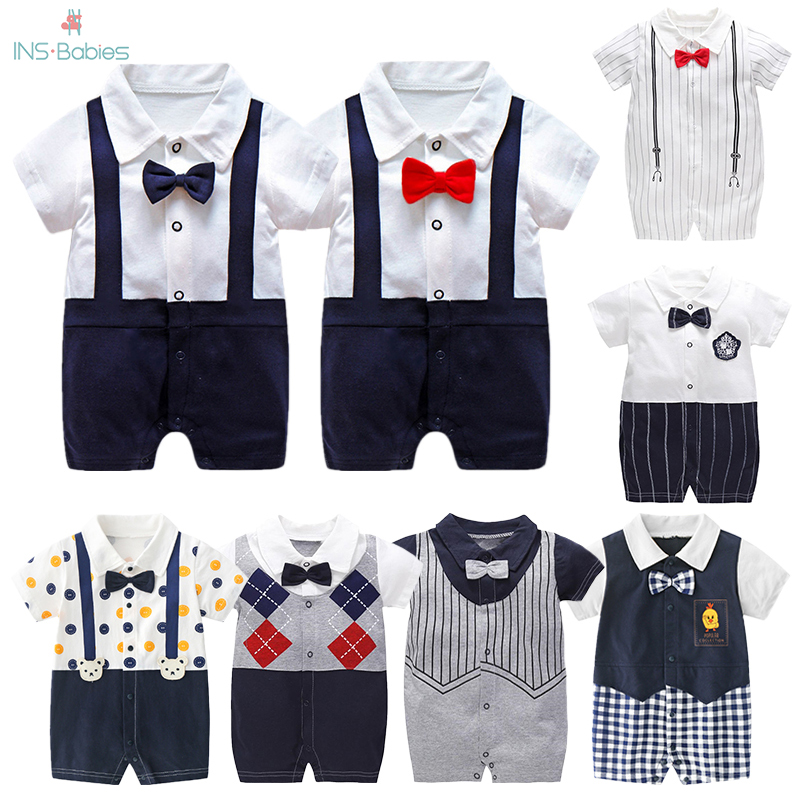 New Born Baby Clothing Summer Gentleman Rompers 0-12M Baby Boys Cotton Jumpsuit Baby Body Clothes Newborn Unisex Thin Costumes