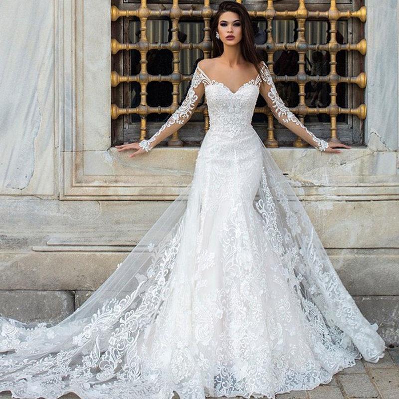 2019 Appliques Vestido De Noiva Long Sleeve Mermaid Wedding Dresses With Lace Illusion Button Back Custom Made Bride Dress