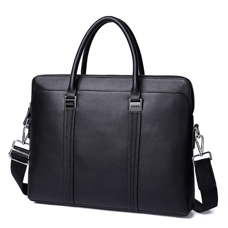 mens briefcase bag men genuine leather laptop business tote for document office portable shoulder Messenger Bag