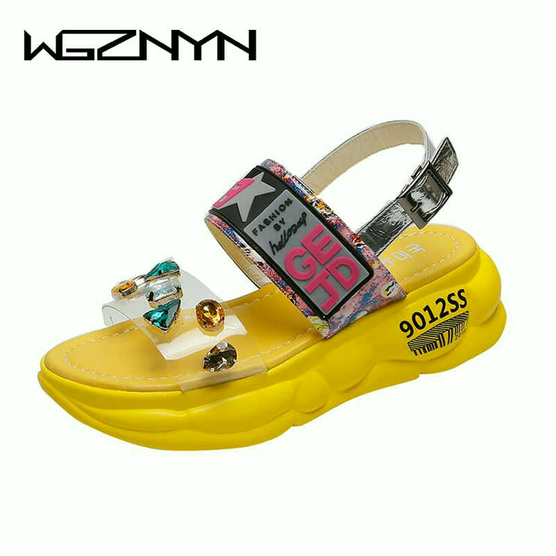 Platform Sandals Shoes Station-Side Woman New Muffin W309 Air-Tide