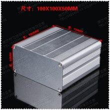 משלוח חינם 1 סט של אלומיניום מעטפת כסף DIY אלקטרוני פריט PCB ארגז כלים 100x100x50