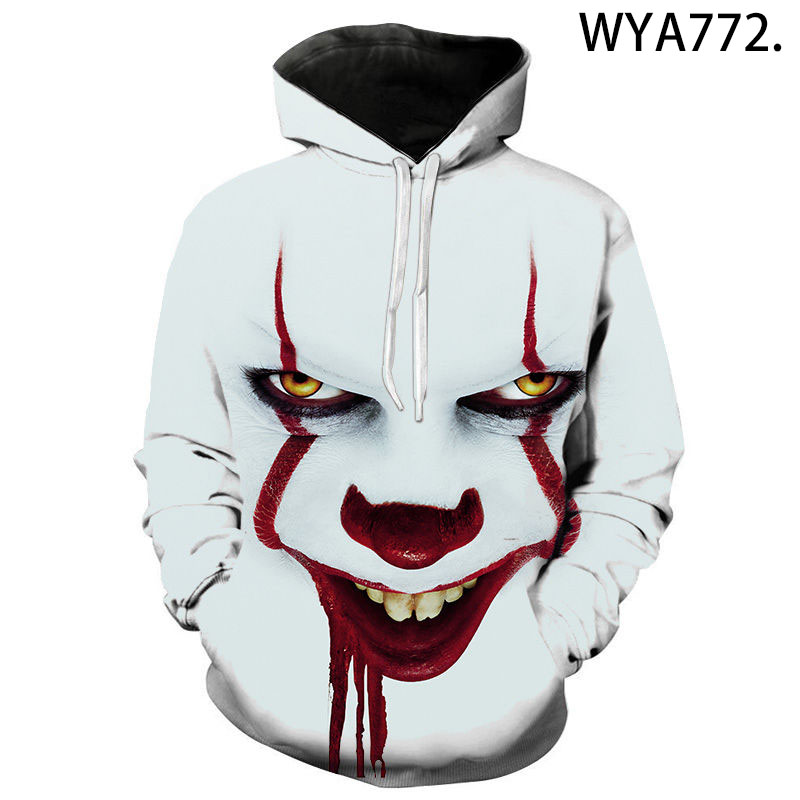 2020 new chapter 2 3D printing men's and women's fashion casual funny Sweatshirt comfortable Pullover clown print Hoodie
