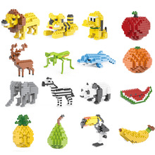 Compatible with LEGO diamonds small particles building blocks fruit animals children DIY puzzle science toys все цены