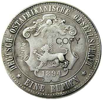1894 German East Africa 1 Rupie Coin Guilelmus II Imperator Silver Plated Copy coin image