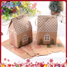 Packaging-Boxes Gift-Bags Pendant Kraft-Paper House-Shape Party-Decor Christmas-Tree