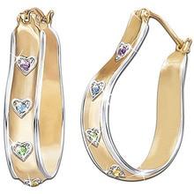 Fashion Heart Rhinestone Gold  Hoop Earrings for Women Luxury U Shaped Wedding Earring Statement Jewelry Z3M505