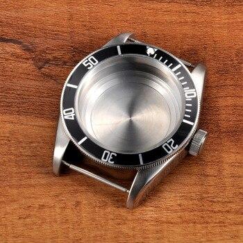 41mm Sapphire Glass Black Aluminum Bezel Watch Parts Case Dial Fit movement ETA 2824 2836 or miyota 82 series