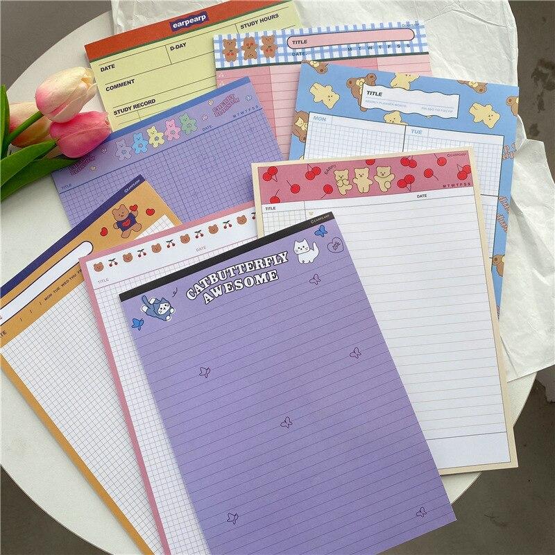 30 arkuszy wiśnia kreskówka niedźwiedź notatnik B5 notatnik Kawaii Student nauka Plan lista słów Do zrobienia lista terminarz tygodniowy papiernicze
