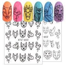 Autocollant de transfert à leau pour Nail Art, décalcomanies de tatouage ajouré, adhésif géométrique, flamant rose et chien, décoration BESTZ651 654